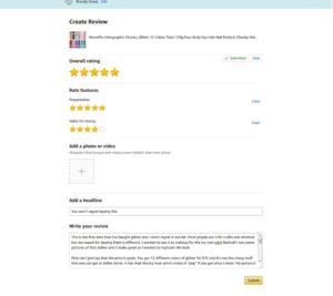 Amazon verified review 1