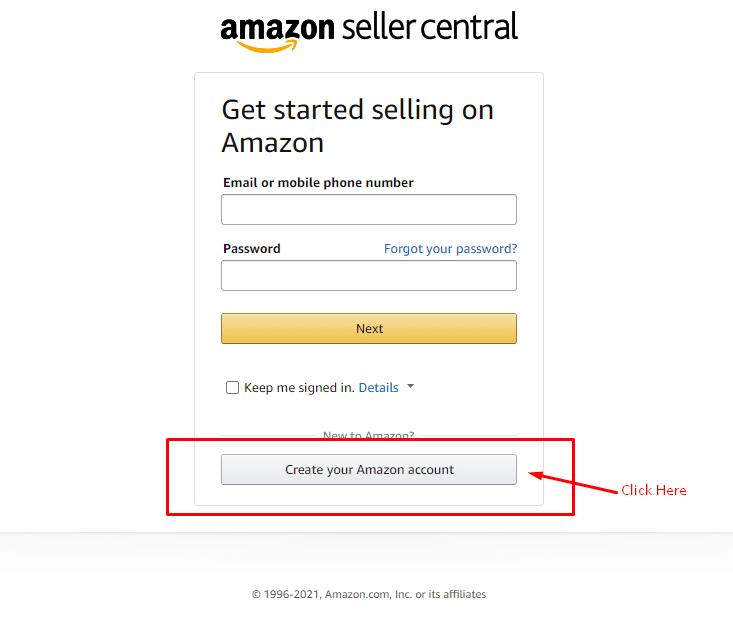Amazon seller central registration process.